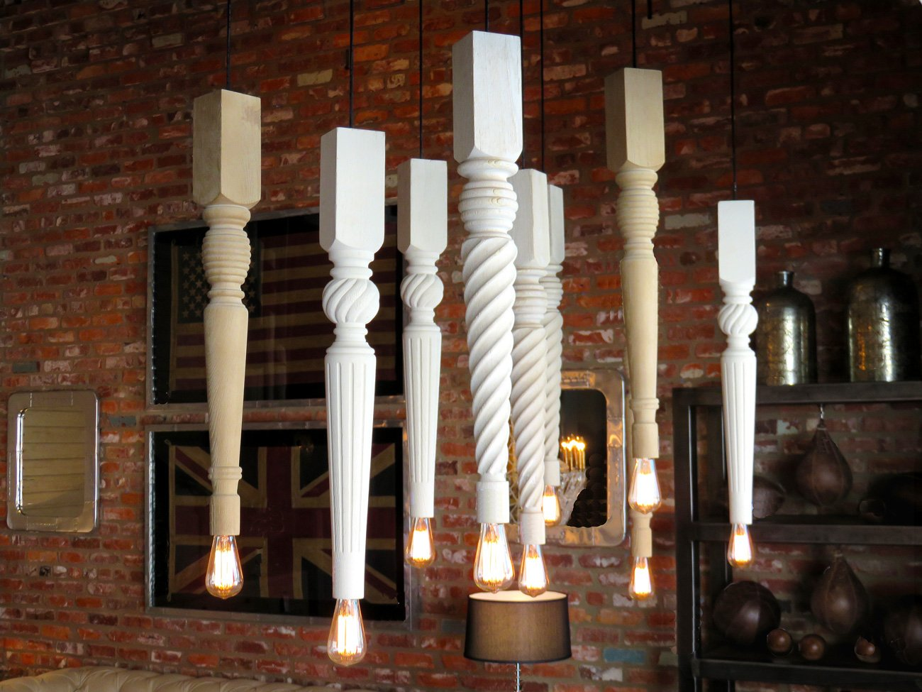 wood table leg pendants