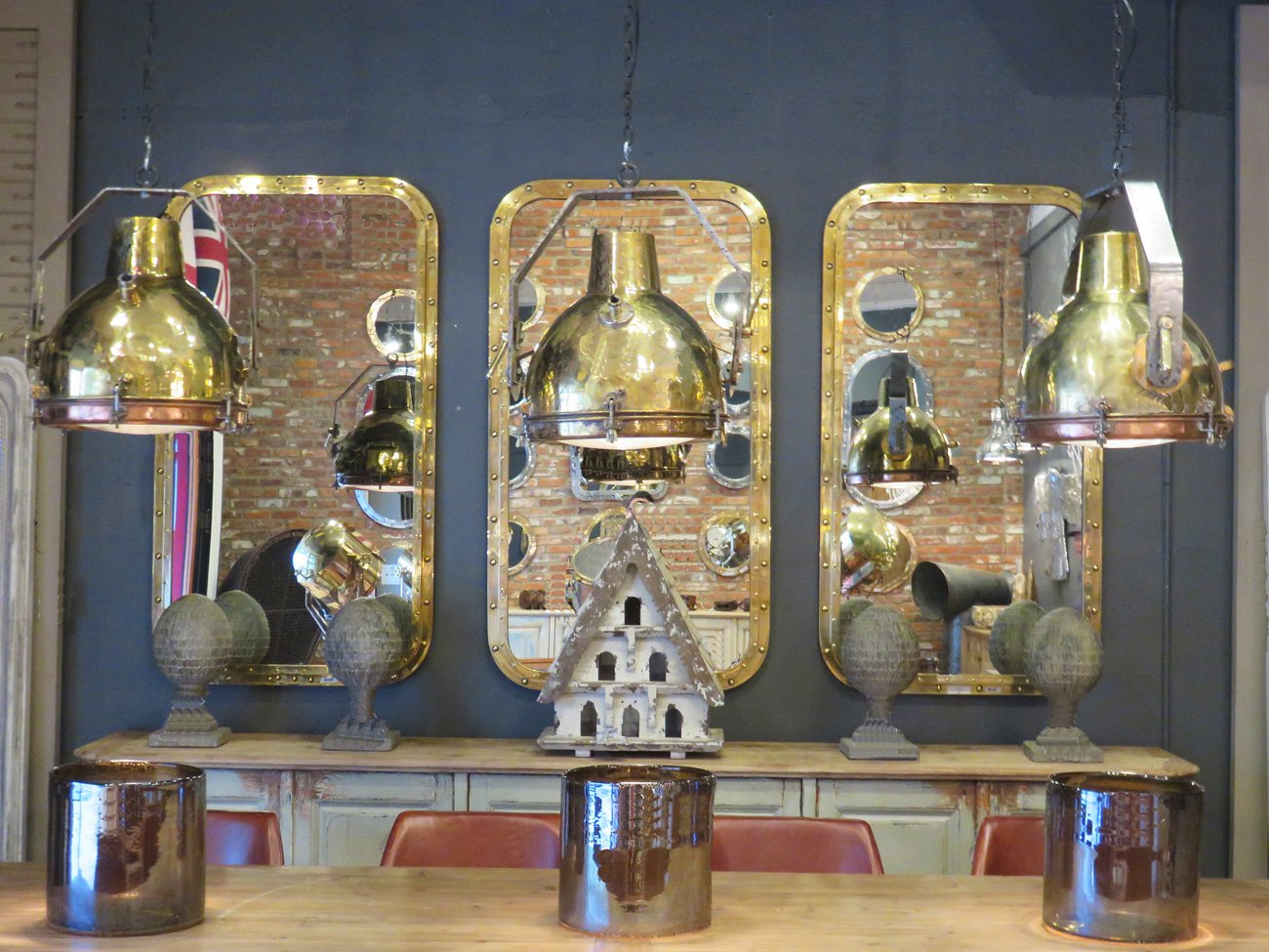 vintage brass industrial pendants