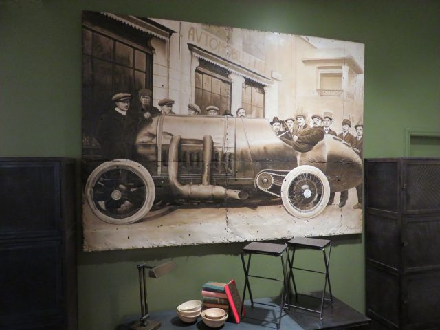 Large Vintage Car Oil Painting