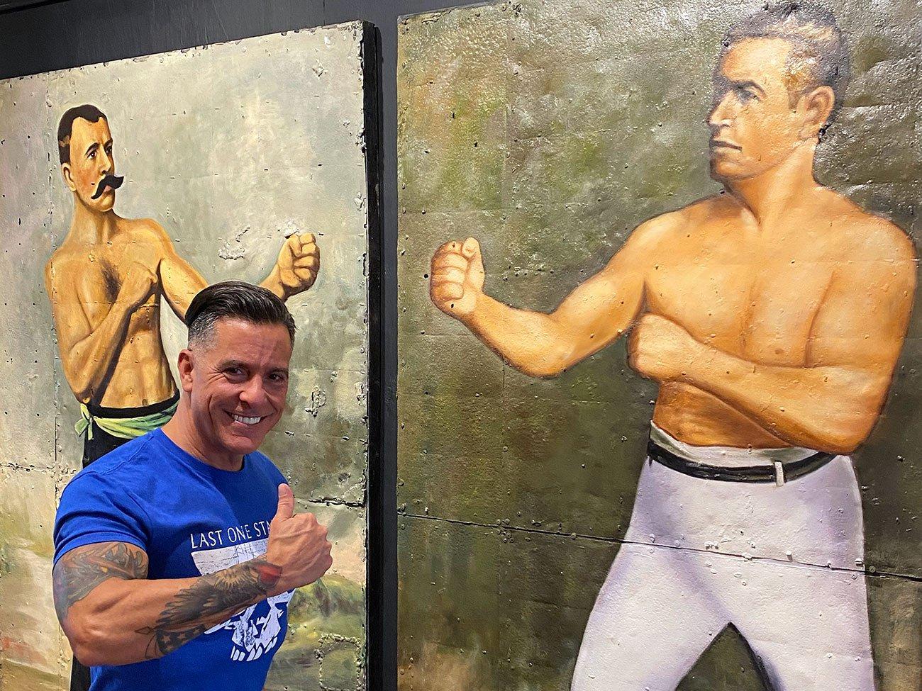 large vintage boxer paintings