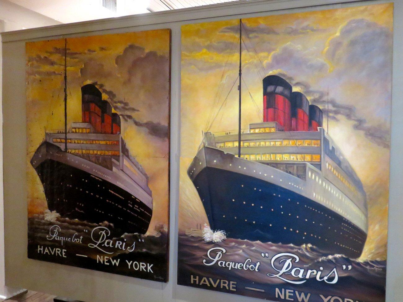 ocean liner oil painting