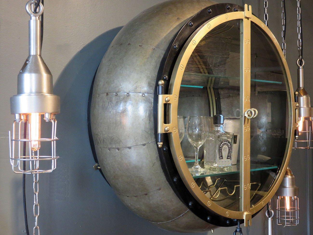 round brass bar cabinet