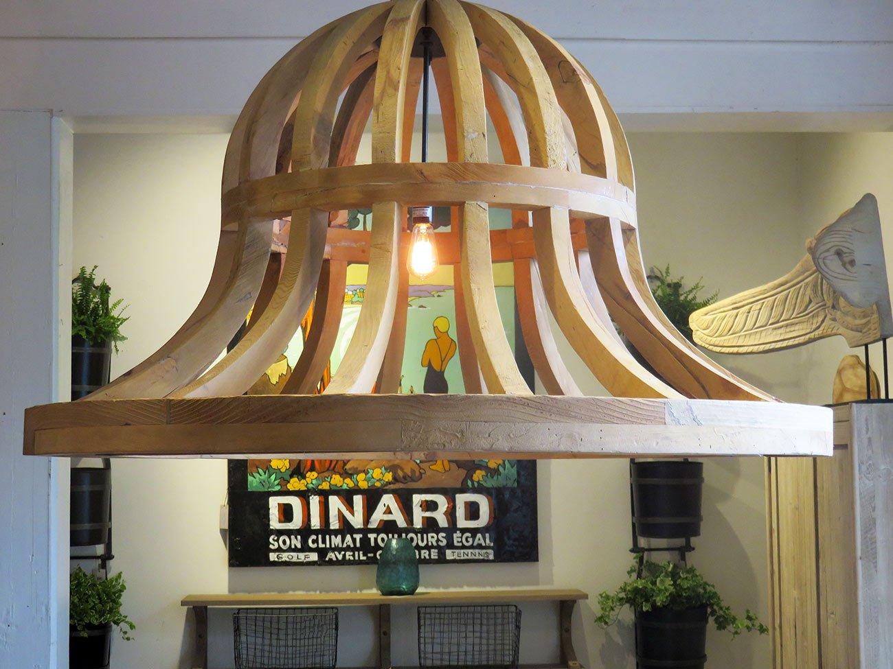 large natural wood chandelier