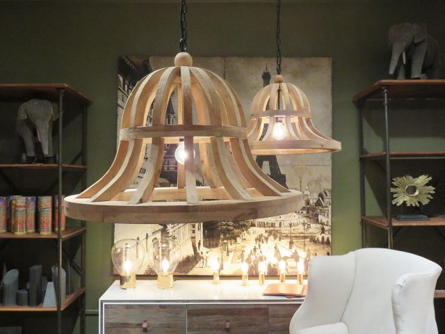 Large Wood Frame Chandelier