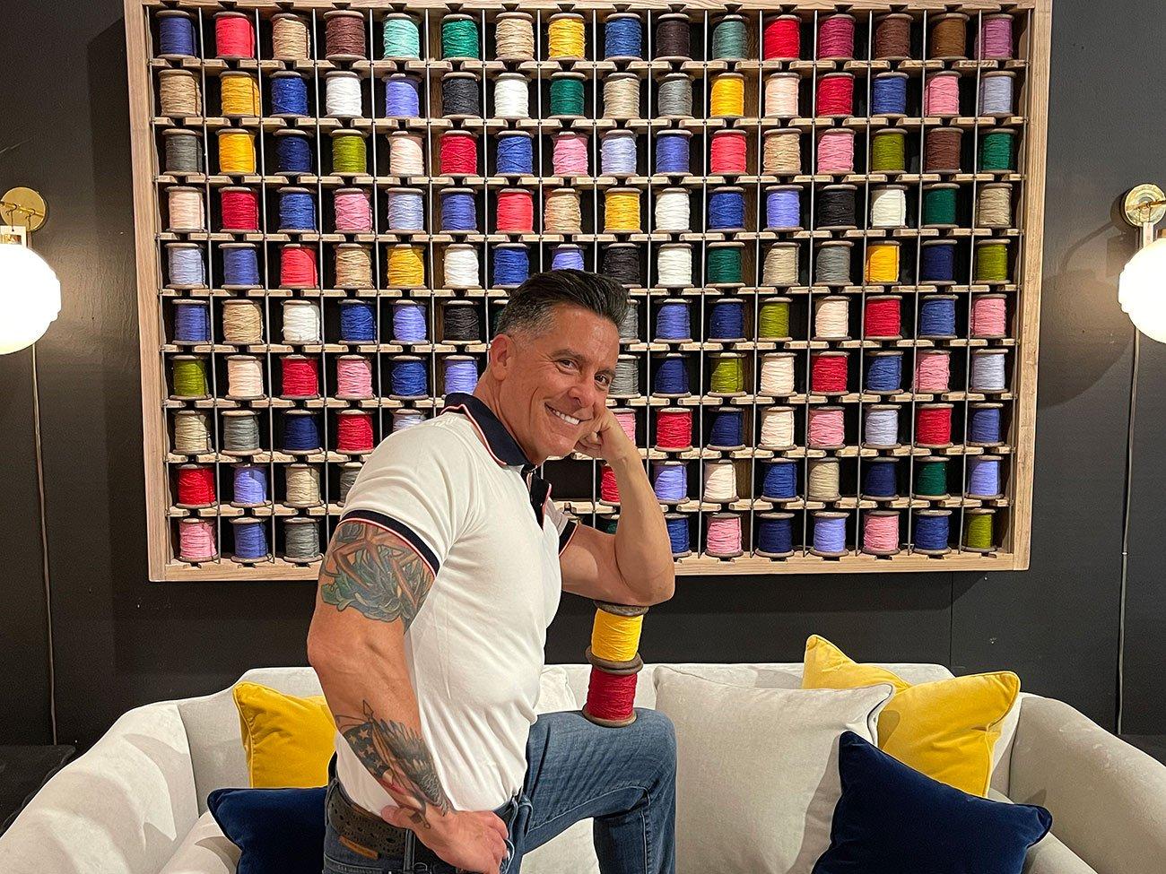 yarn spools wall art