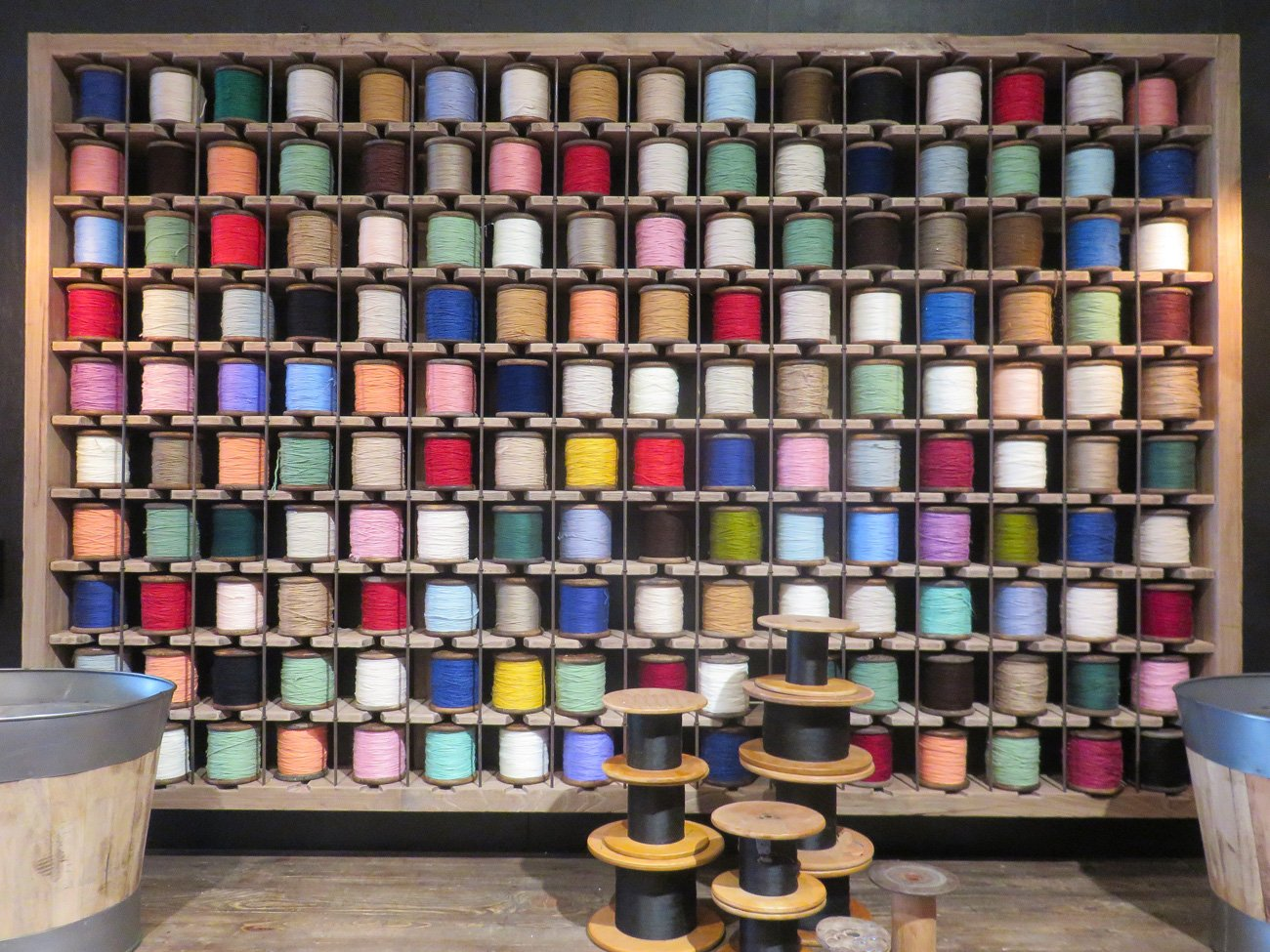 yarn spools art display
